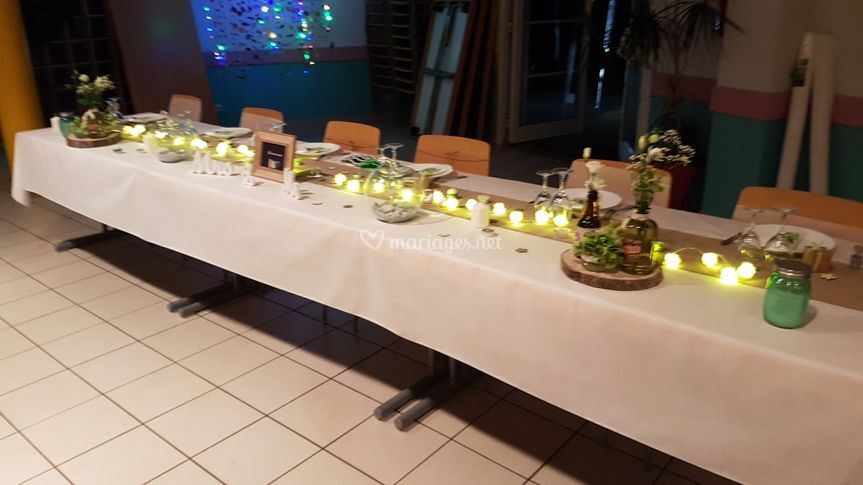 Table des mariés. Décoration
