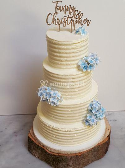 Naked cake hortensias