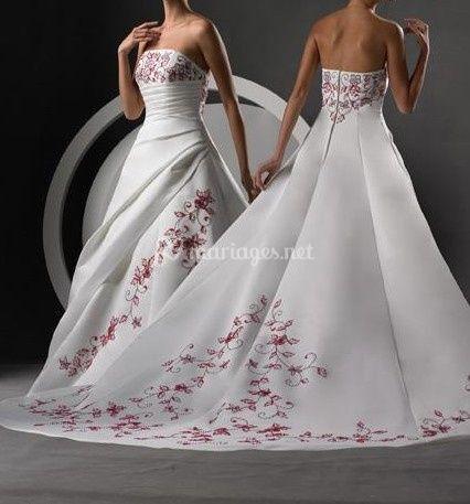 Robe de mariée blanche rouge