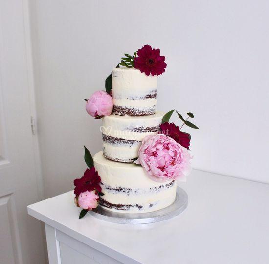 Naked cake fleuri