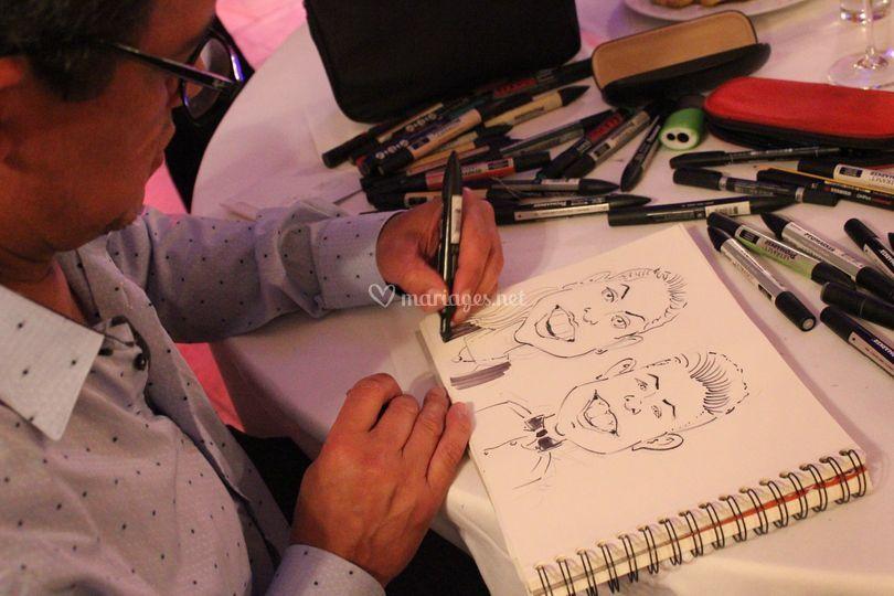 Caricaturiste en action