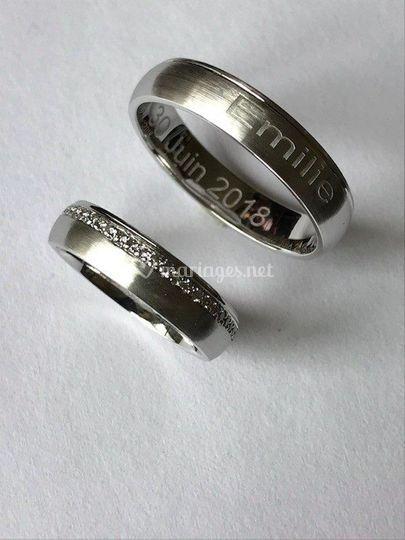 Or blanc 750 et diamant