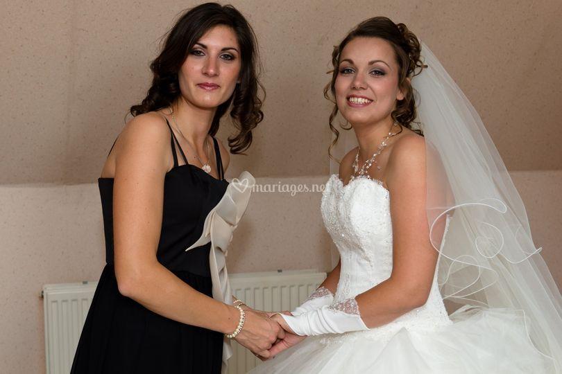 Maquillages mariée et soeur