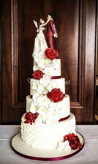 Wedding cake orchidées