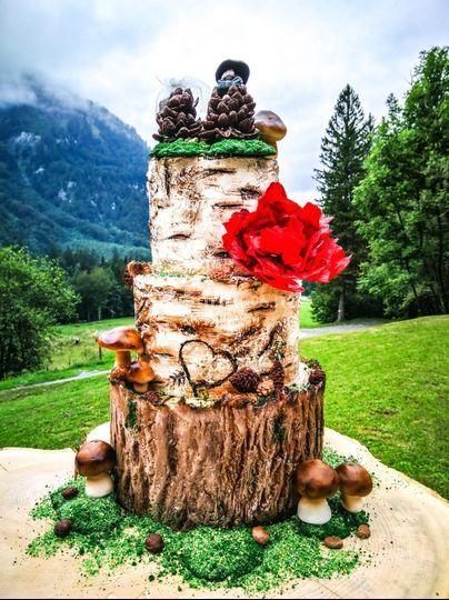 Wedding cake nature bois