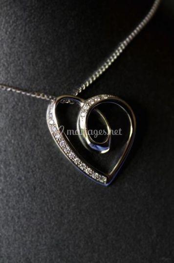 Coeur or gris diamants