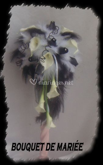 Bouquet de mariée arum  plume