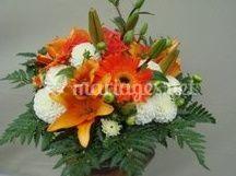 Bouquet rond blanc orangé