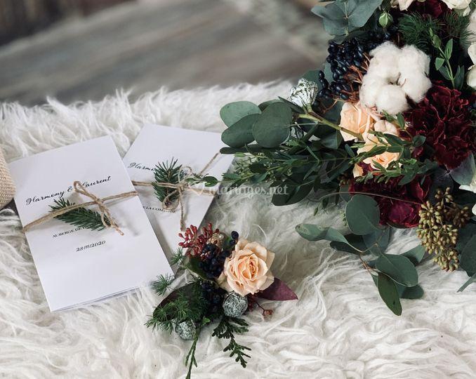 Bouquet, boutonnière et menus