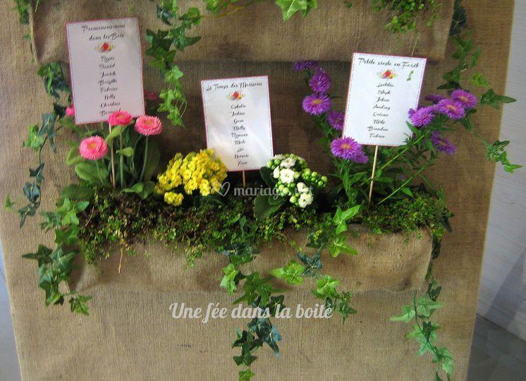 Détail plan de table fleuri