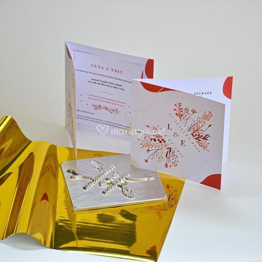 Mariage floral rouge et or