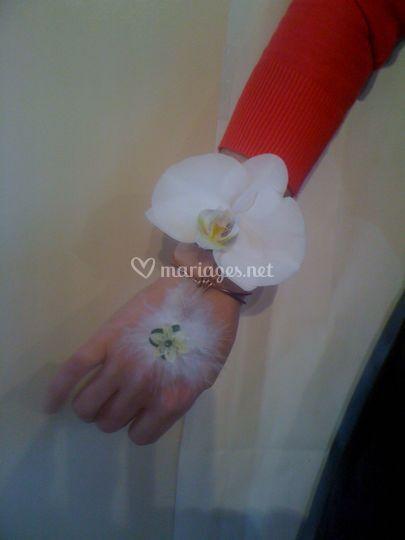 Bracelet blanc et plume