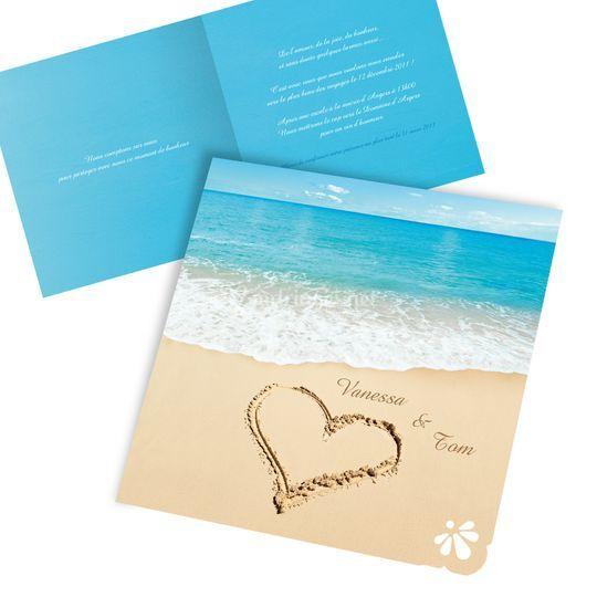 Mariage coeur sur sable