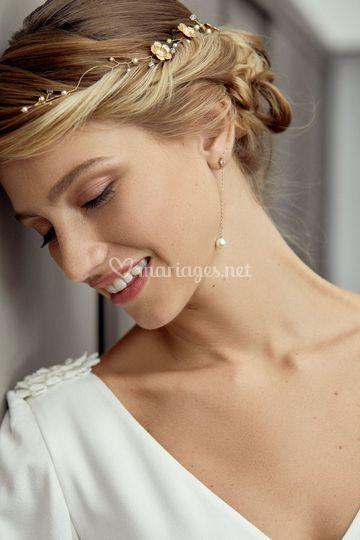 Boucles d'oreilles mariée doré