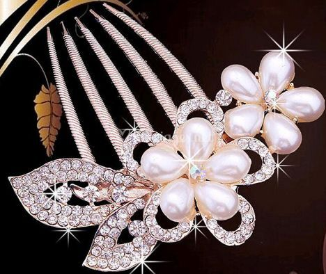 Peigne perle fleur
