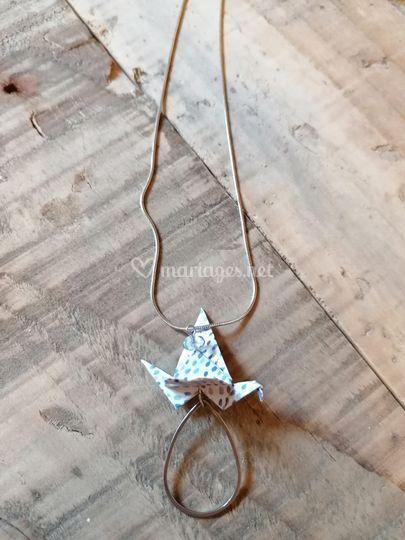 Collier Grue origami