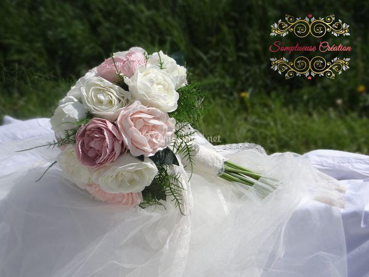 Bouquet artificiel pivoines
