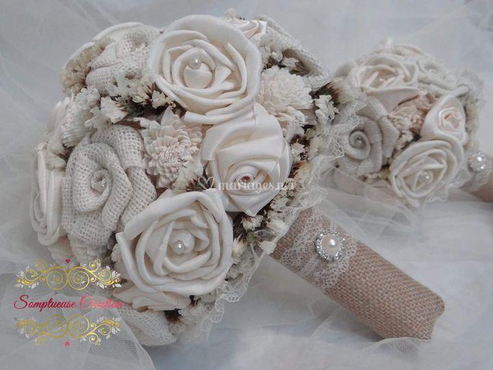 Bouquet de mariée jute,fleurs