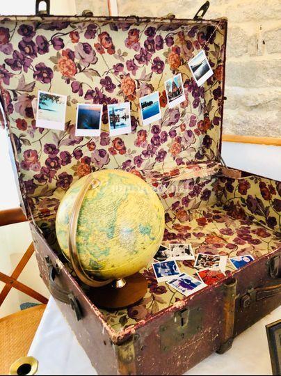 Décoration valise - globe