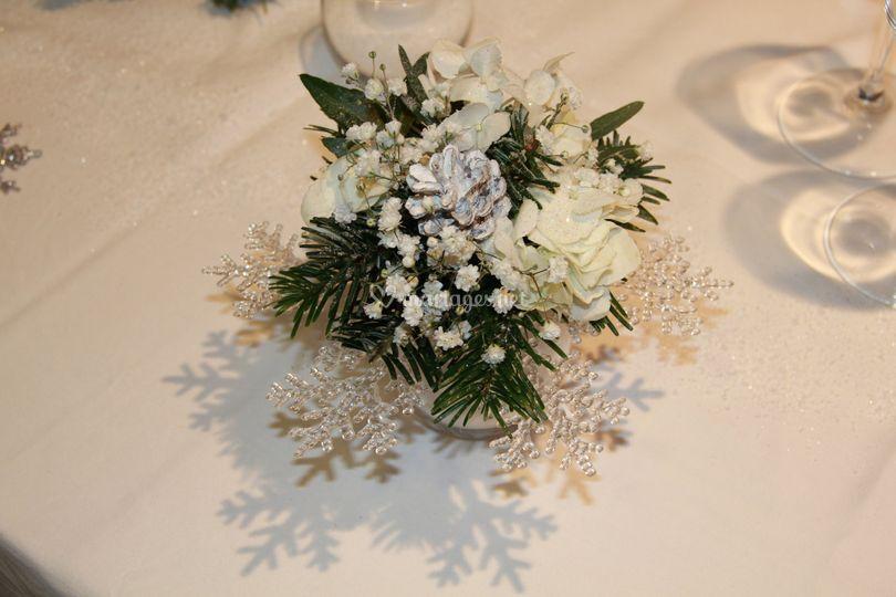 Bouquets sur flocons neige