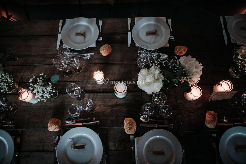 Table brut mariage champêtre