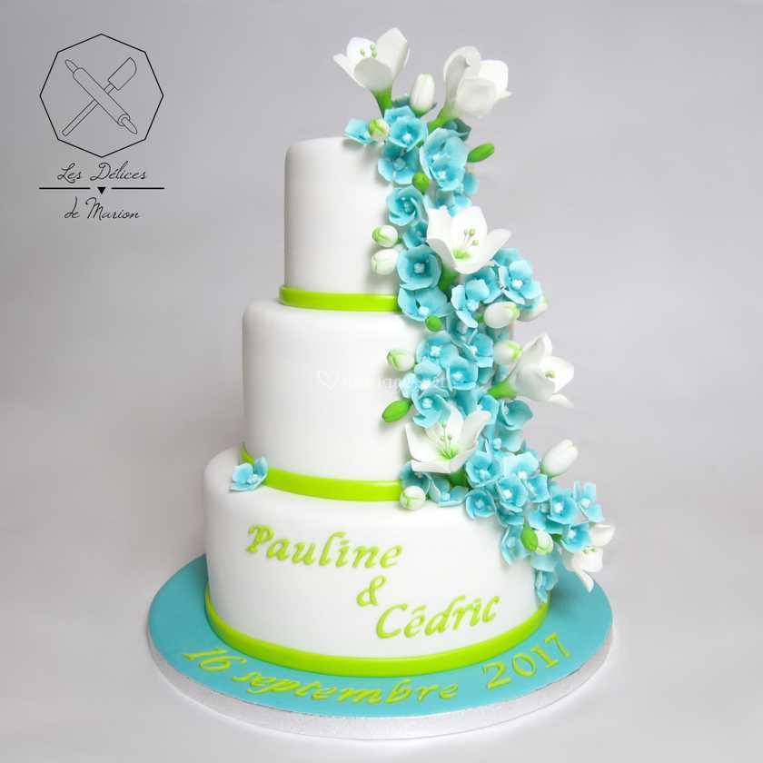 Wedding Cake Bleu Vert De Les Délices De Marion Photo 11