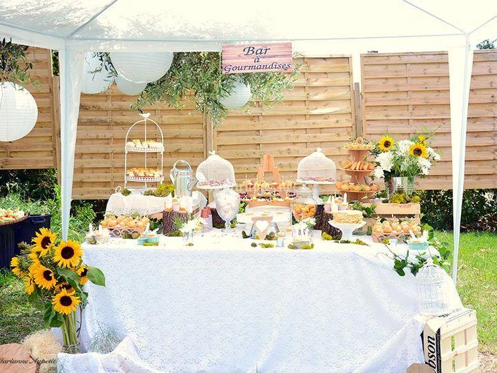 Wedding sweet table champêtre