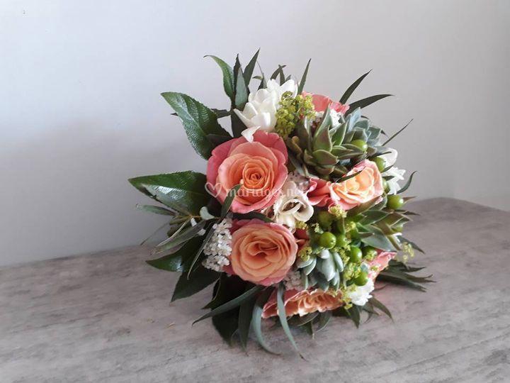 Bouquet de mariée plantes gras