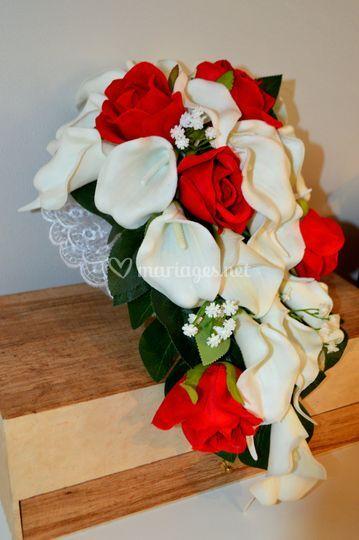 Bouquet mariée rouge/blanc
