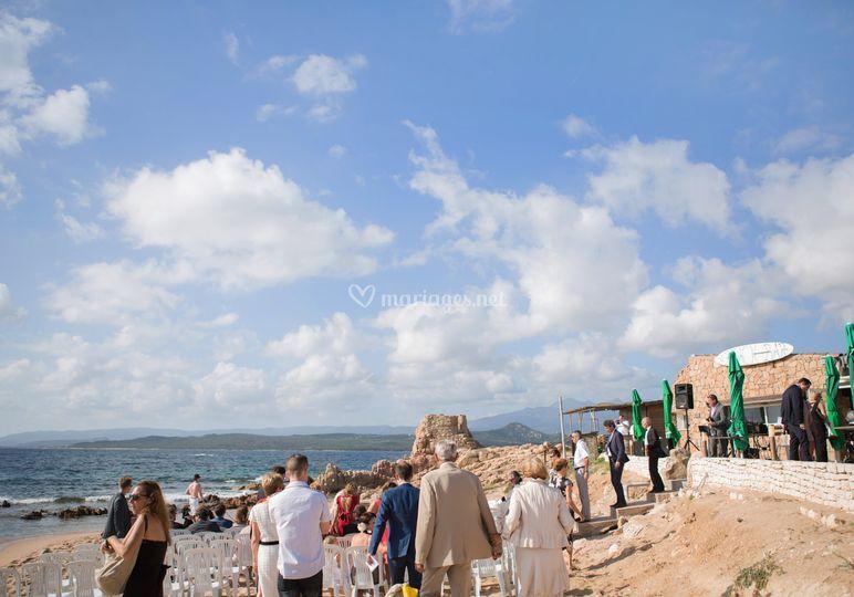 Vin d'honneur sur la plage