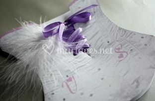 Faire part bustier blanc&parme