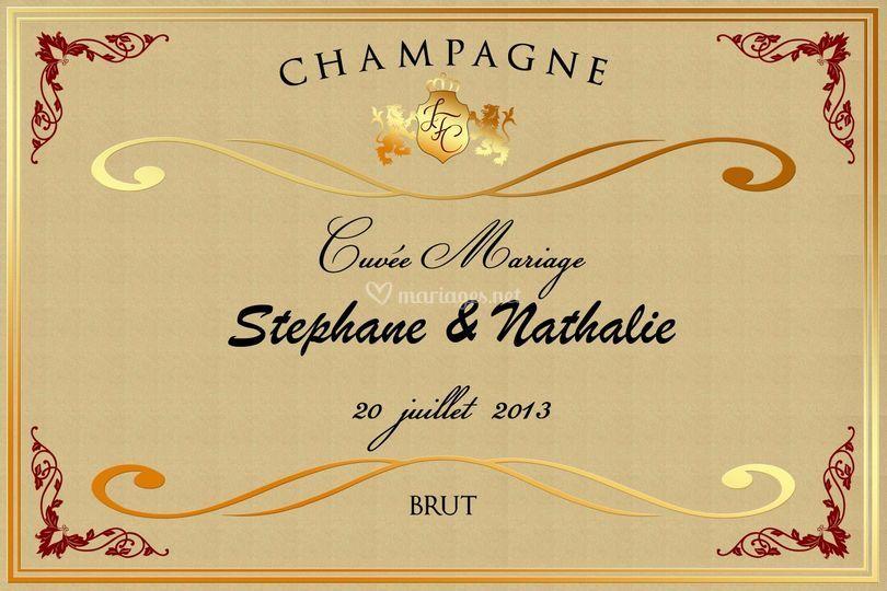 champagne mariage sur bouteille personnalise - Etiquette Bouteille Champagne Mariage