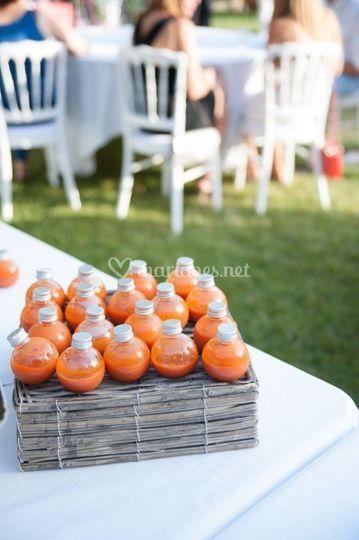Gaspacho en verrines boules