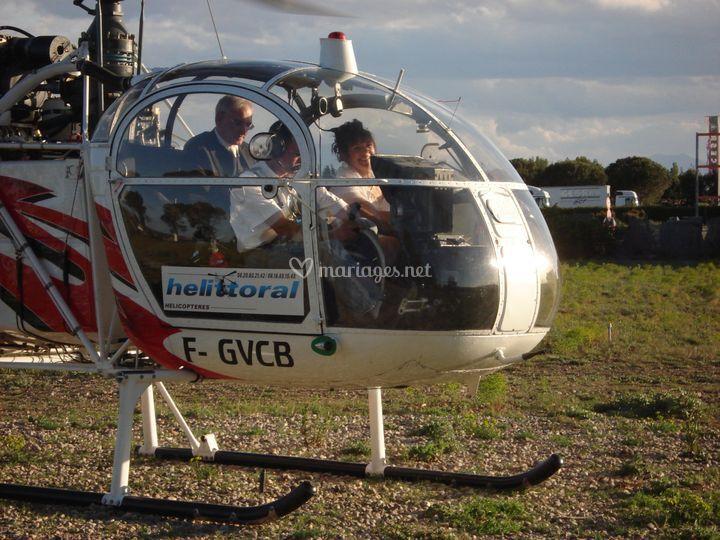 Arrivée en hélicoptère