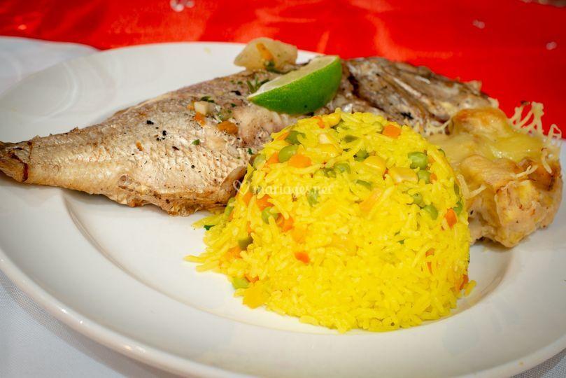 Poisson grillé riz madras