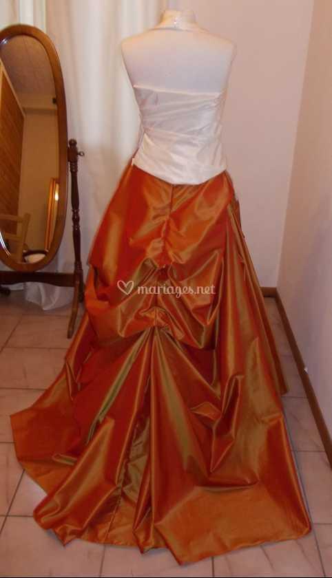 Robe de mariee ivoire et orange