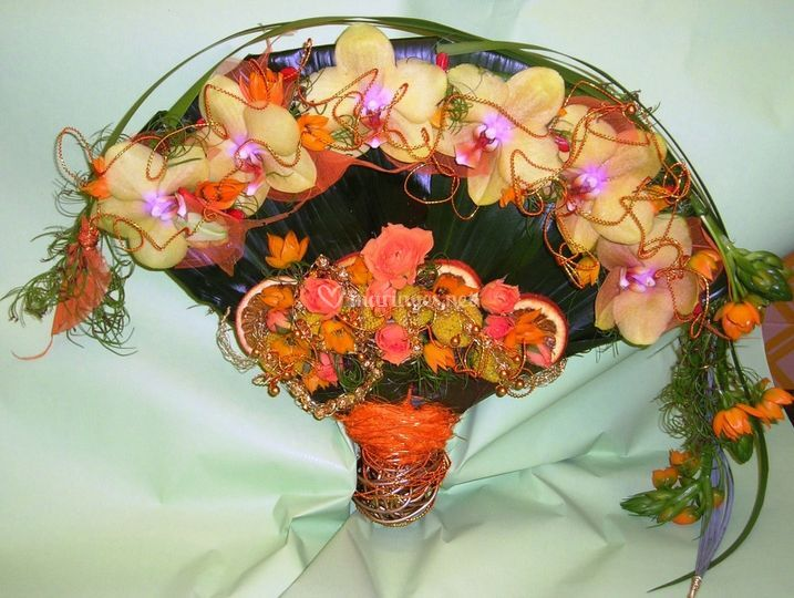 Bouquet mariage orange