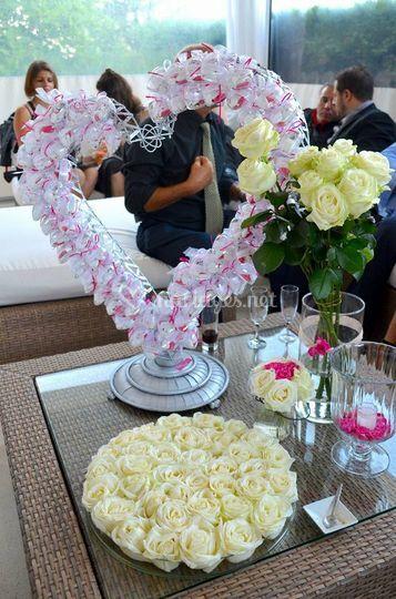 Décor de table créme et rose