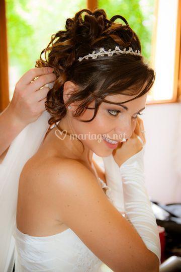 Chignon et maquillage mariée