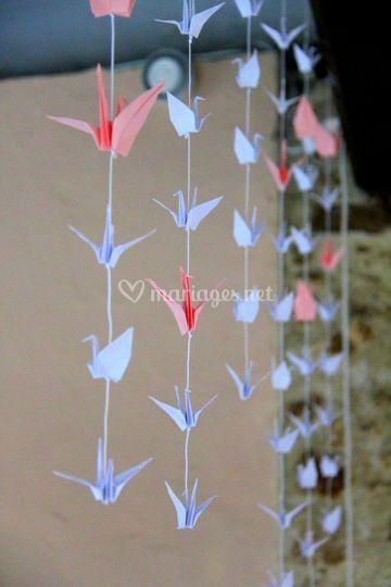 Guirlande d'oiseaux en origami