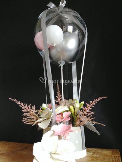 Montgolfière, fleurs, ballon
