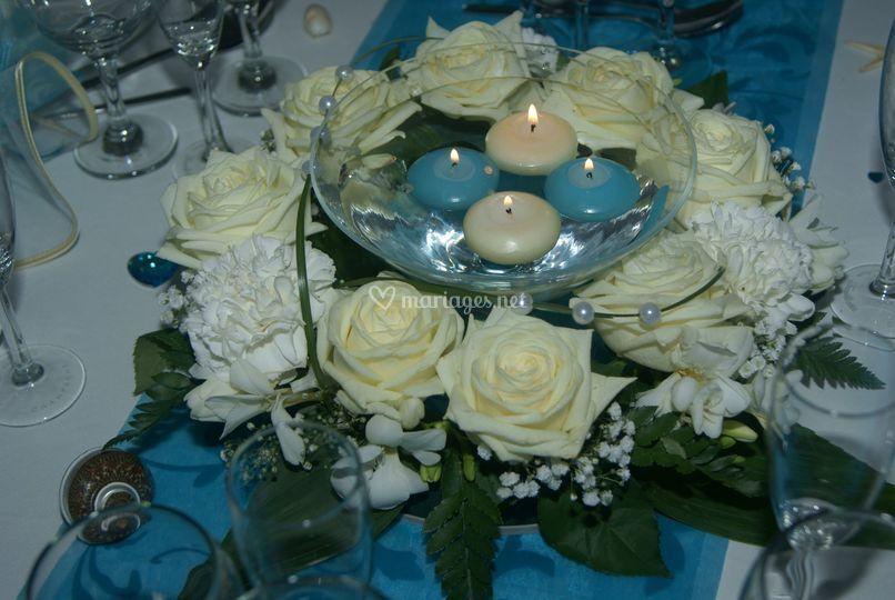 Aux noces d 39 azur - Centre de table bleu turquoise ...