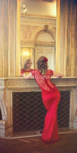 La robe de mariée rouge dentelle