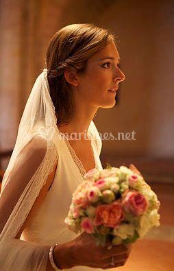 Bouquet romantique rose/ blanc