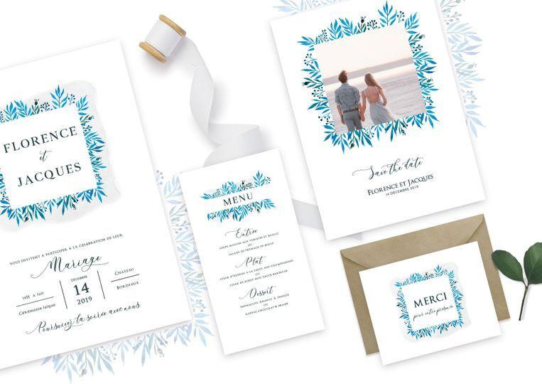 Set mariage - cadre bleu