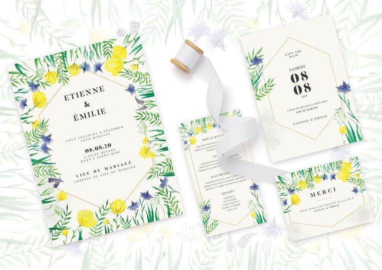 Set mariage - fleurs de champs