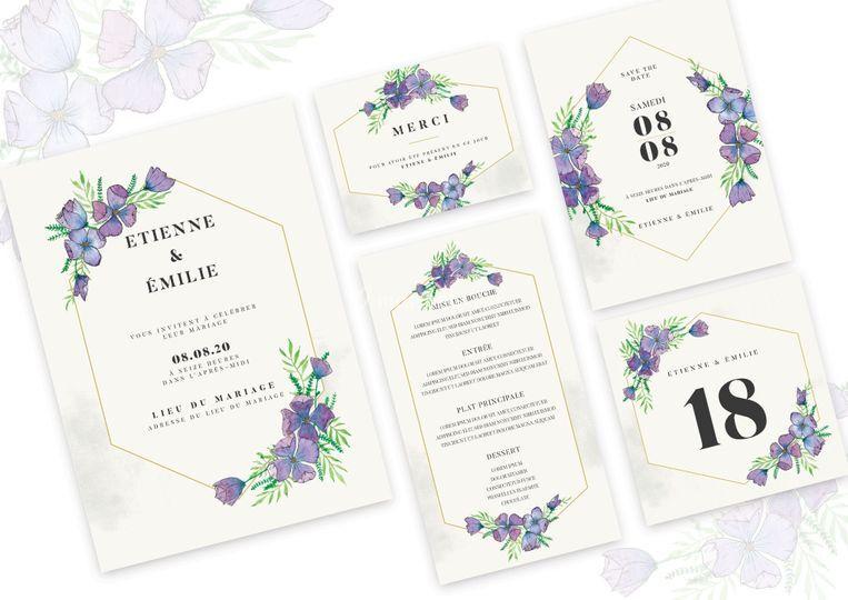 Set mariage - fleurs violettes