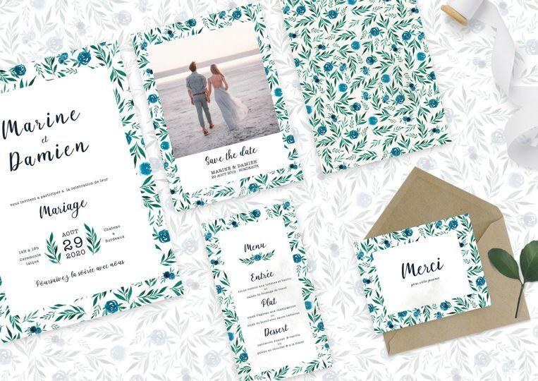 Set mariage - rose bleue