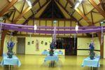 Salle d'apéritif, ambiance évaporée, couleurs pervenche et violine