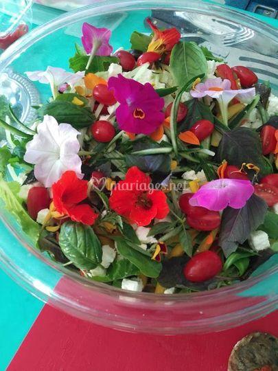 Salade fraîcheur et fleur